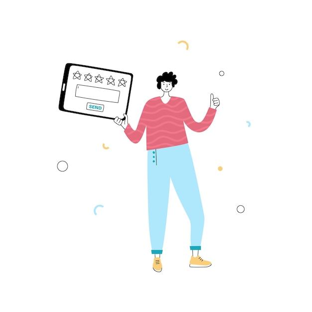 Ilustração em vetor isolada do personagem do homem com laptop dando estrelas, comentários e avaliações