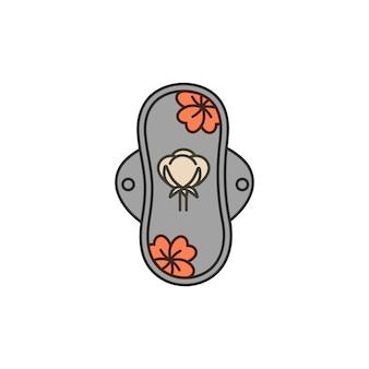 Ilustração em vetor isolada em almofada menstrual reutilizável de fundo branco com flores de algodão. guardanapo de algodão de higiene natural para a menstruação.