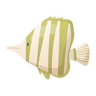 Ilustração em vetor isolada no fundo branco. peixe listrado verde bonito dos desenhos animados em estilo realista. vida marinha dos desenhos animados. elemento de design ou decoração com o tema verão, férias, oceano.