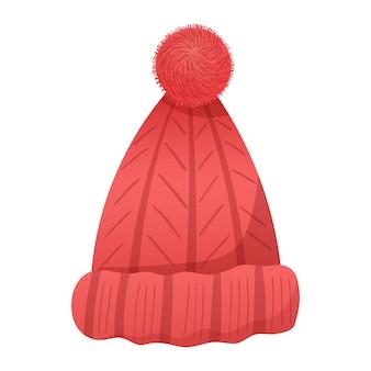 Ilustração em vetor isolado dos desenhos animados de natal de engraçado chapéu de lã vermelho tricotado com pompom.