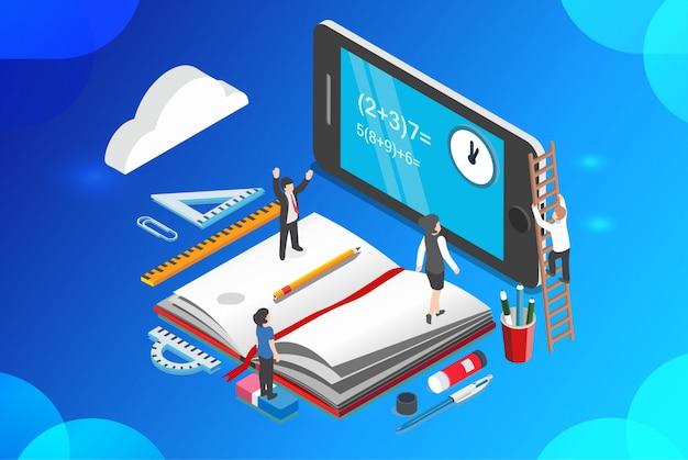 Ilustração em vetor isométrica aprendizagem on-line