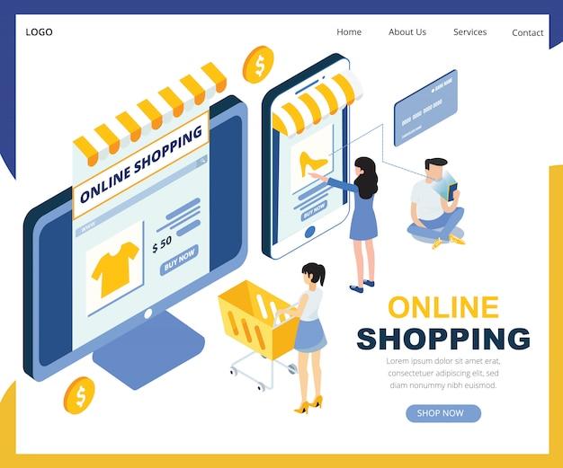 Ilustração em vetor isométrica compras on-line