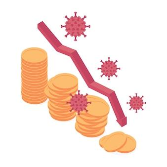 Ilustração em vetor isométrica coronavirus crise econômica e financeira