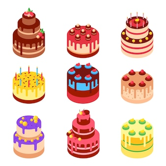 Ilustração em vetor isométrica de bolos doces assados.