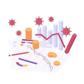 Ilustração em vetor isométrica de crise econômica de coronavírus.