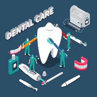 Ilustração em vetor isométrica de cuidados dentários