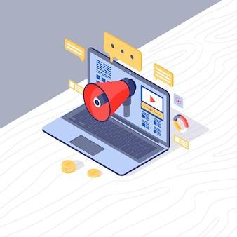 Ilustração em vetor isométrica de estratégia de marketing digital