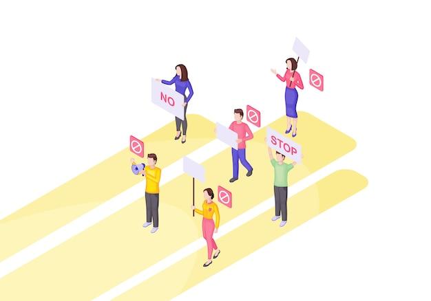 Ilustração em vetor isométrica de evento de protesto