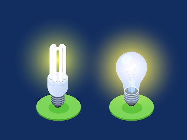 Ilustração em vetor isométrica de lâmpadas economizadoras de energia e led