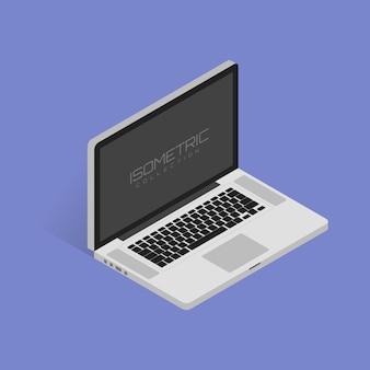 Ilustração em vetor isométrica de laptop em fundo branco com sombra.