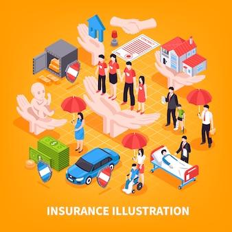 Ilustração em vetor isométrica de seguros