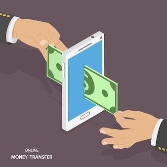 Ilustração em vetor isométrica de transferência de dinheiro on-line.
