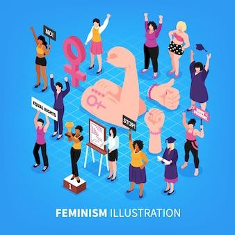 Ilustração em vetor isométrica feminismo composição com punhos e personagens humanos de ativistas femininas com mulheres