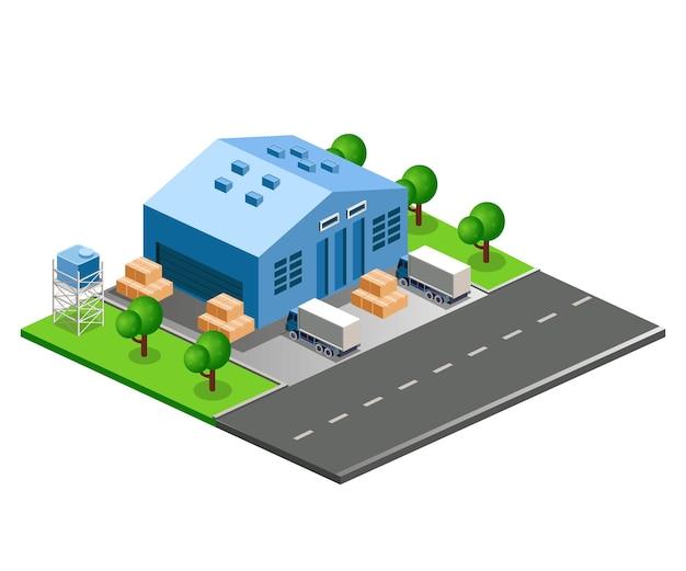 Ilustração em vetor isométrica plana armazém de automóveis e estradas
