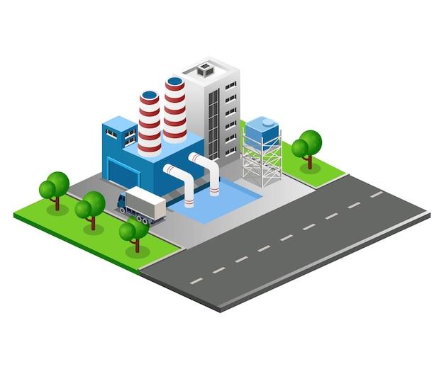 Ilustração em vetor isométrica plana, construção de fábrica na rua da cidade