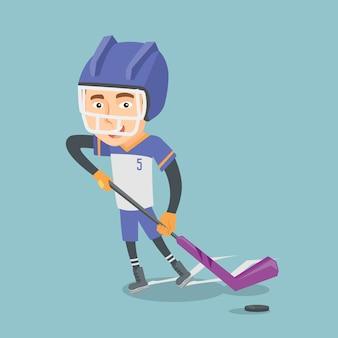 Ilustração em vetor jogador de hóquei no gelo.