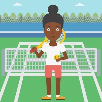 Ilustração em vetor jogador de tênis feminino.
