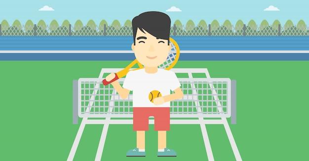 Ilustração em vetor jogador de tênis masculino.