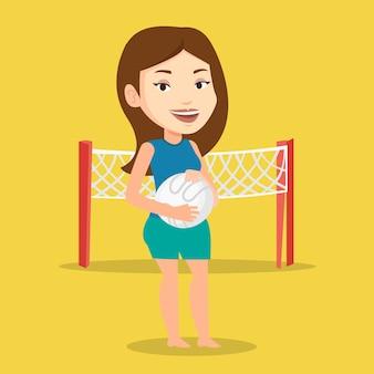 Ilustração em vetor jogador de vôlei de praia.