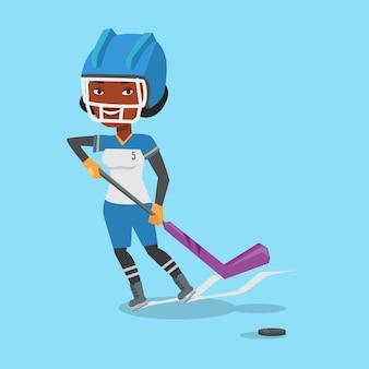 Ilustração em vetor jogador hóquei no gelo.
