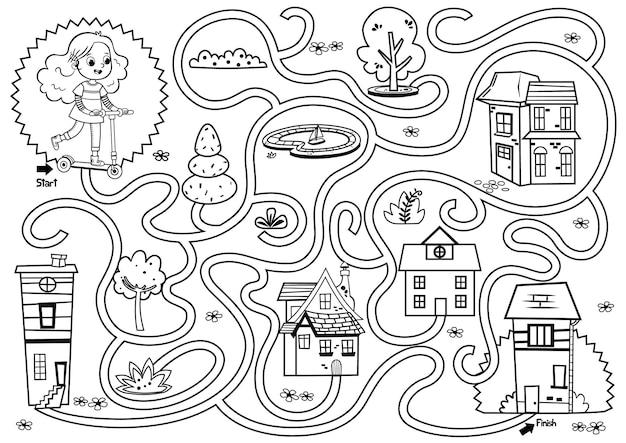 Ilustração em vetor jogo de labirinto de garotas de scooter preto e branco