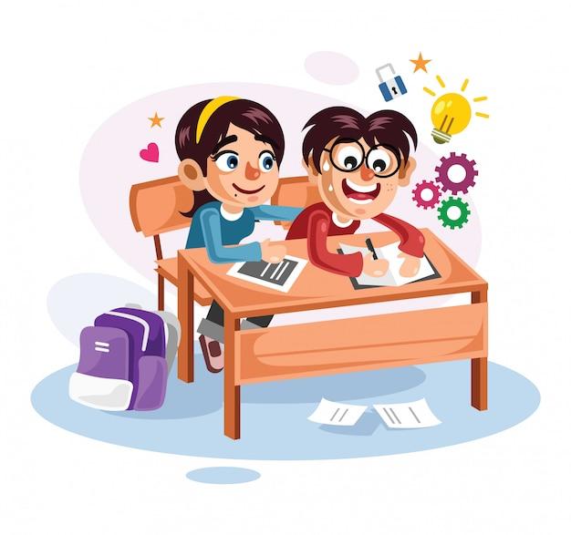 Ilustração em vetor jovem casal estudantes