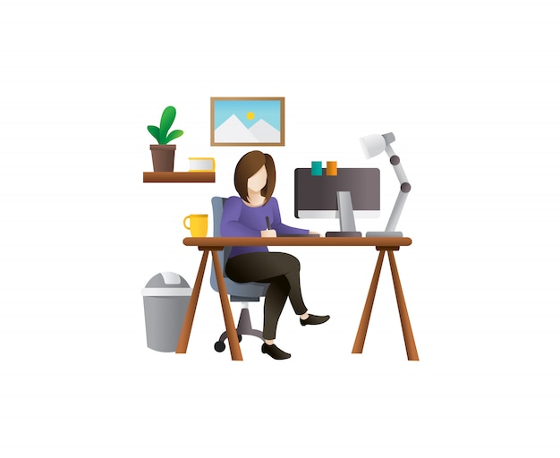 Ilustração em vetor jovem freelancer feminino