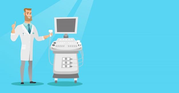 Ilustração em vetor jovem ultra-som médico.