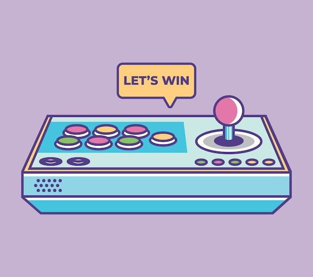 Ilustração em vetor joystick gamepad símbolo de controle de videogame retrô