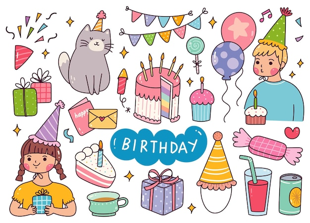 Ilustração em vetor kawaii birthday celebration doodle