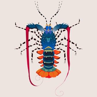 Ilustração em vetor lagosta arco-íris isolado.