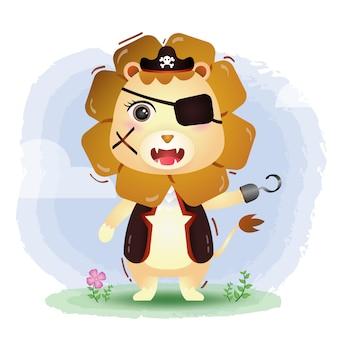 Ilustração em vetor leão pirata fofo