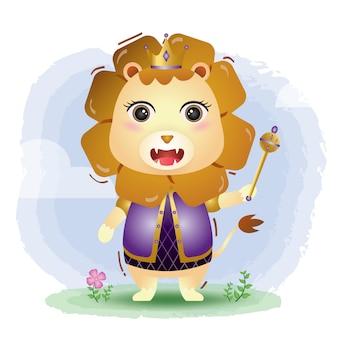 Ilustração em vetor leão rei fofo