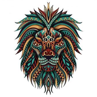Ilustração em vetor leão zentangle