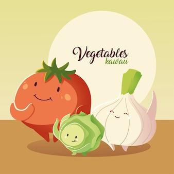 Ilustração em vetor legumes kawaii tomate bonito cebola e repolho estilo cartoon