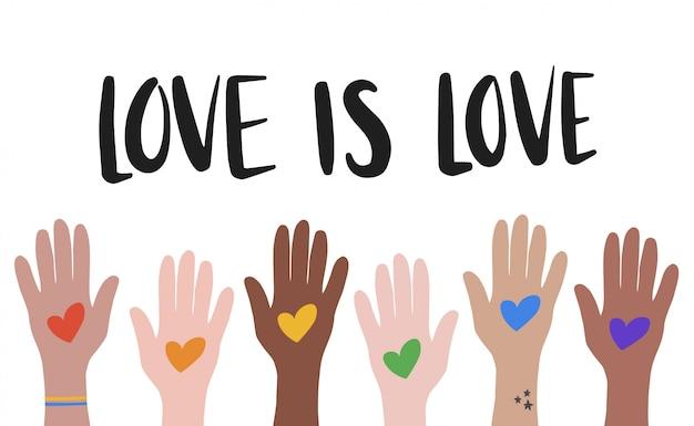 Ilustração em vetor lgbt. amor é amor mão desenhada letras modernas