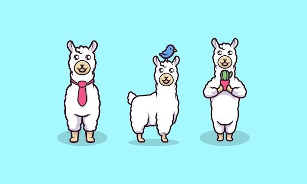 Ilustração em vetor lhama mascote fofa