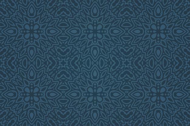 Ilustração em vetor linda com padrão abstrato azul escuro sem costura