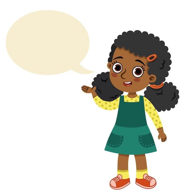 Ilustração em vetor linda garota com balão de fala