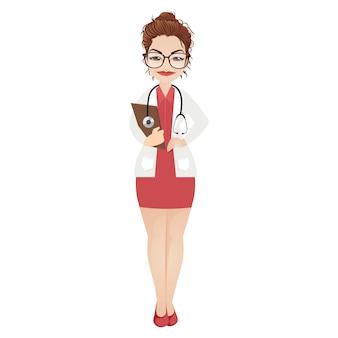 Ilustração em vetor linda médica feminina