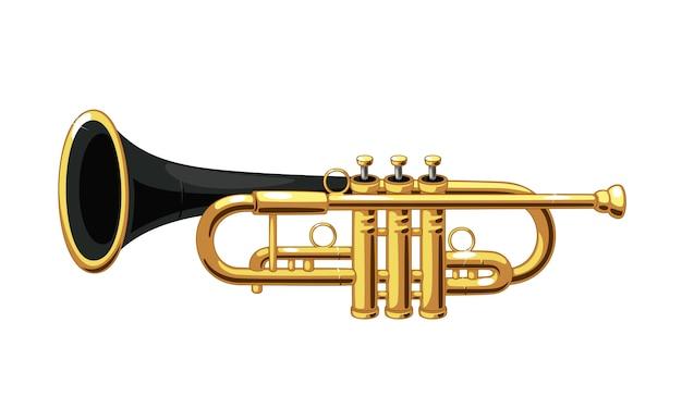 Ilustração em vetor linda trombeta dourada e preta