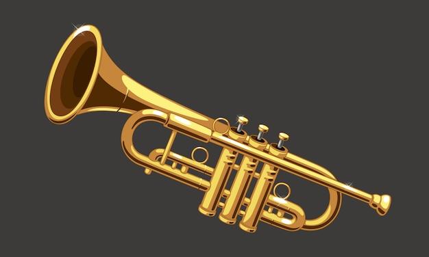 Ilustração em vetor linda trombeta dourada