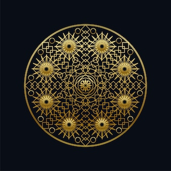 Ilustração em vetor linear mandala geométrica tinta dourada. símbolo étnico oriental isolado no preto