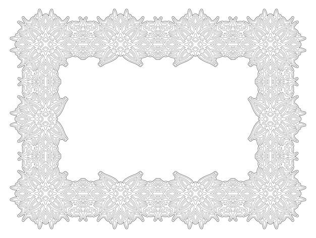 Ilustração em vetor linear para página de livro de colorir adulto com moldura vintage retângulo abstrato