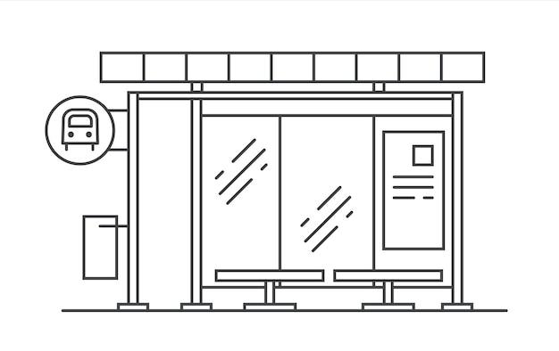 Ilustração em vetor linha arte parada de ônibus. saia do metrô.