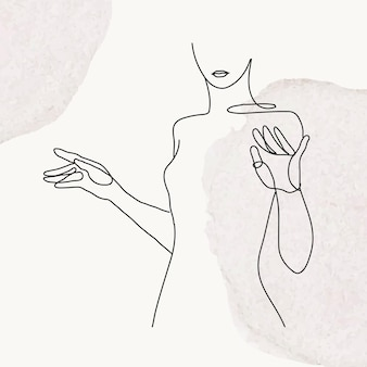 Ilustração em vetor linha arte superior do corpo feminino em fundo cinza pastel aquarela