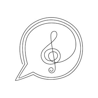 Ilustração em vetor linha contínua de notas musicais desenhadas à mão