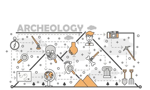 Ilustração em vetor linha fina arte arqueologia