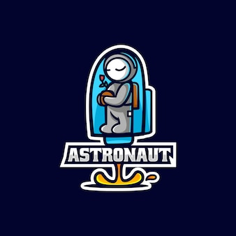 Ilustração em vetor logotipo astronauta e esporte e estilo esportivo