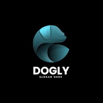 Ilustração em vetor logotipo cão gradiente estilo colorido